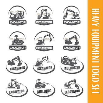 Excavator logo template set