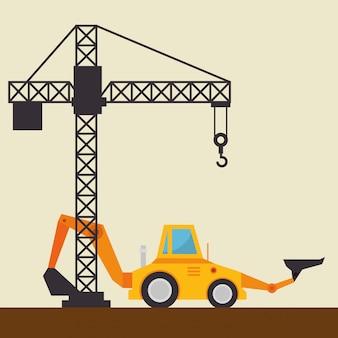 Excavator machine with under construction icon