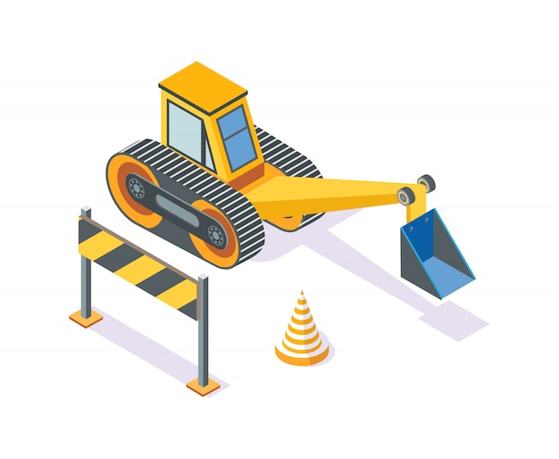 Excavator, road plastic cone and wooden stand