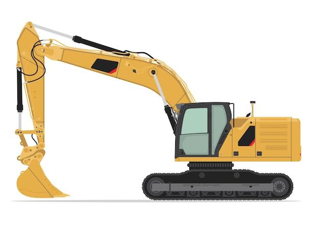掘削機の側面図フラットベクトルデザイン