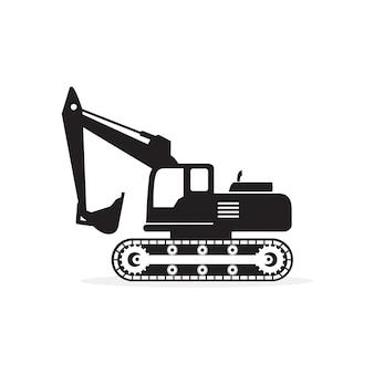 Excavator Silhouette Icon Vector