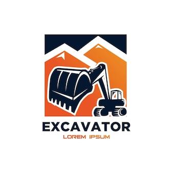 Excavator vector logo template. excavator logo. excavator isolated. digger, construction, backhoe, construction business icon. construction equipment design elements.