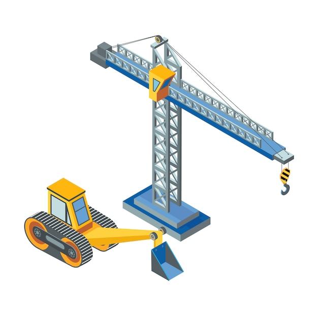 Excavator with bucket, lifting crane construction