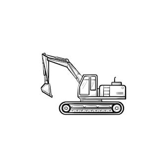 굴착기를 움직이는 굴착기 손으로 그린 윤곽선 낙서 아이콘. 인쇄, 웹, 모바일 흰색 배경에 고립에 대 한 기계 벡터 스케치 그림. 건설 산업 및 기계 개념입니다.