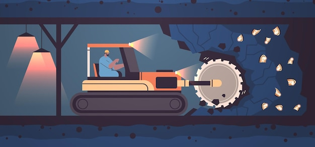 Excavator with rotating cutting drums extracting bitcoins in mine cave mining crypto coins digital cryptocurrency blockchain concept horizontal full length vector illustration