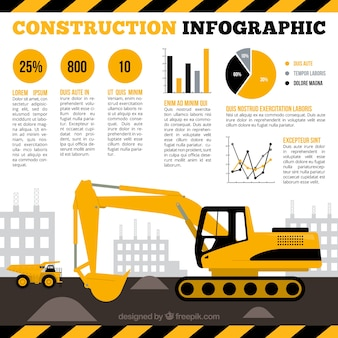Excavator with yellow infographic elements