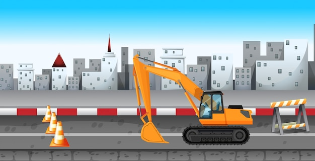 Excavator working at the road construction