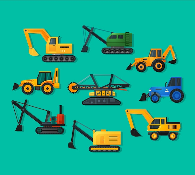 Excavators icons in flat style and long shadow. mining excavator and trucks excavator, old and modern.