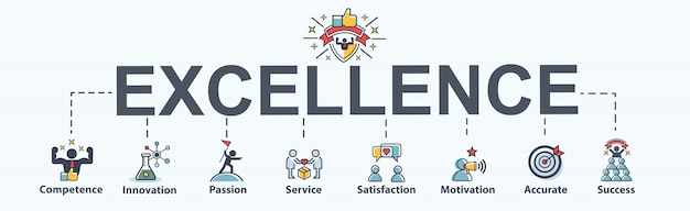 Excellence banner web icon for business