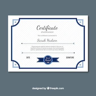Excellence certificate with blue elements