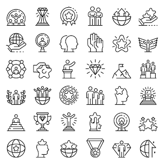Excellence icons set, outline style