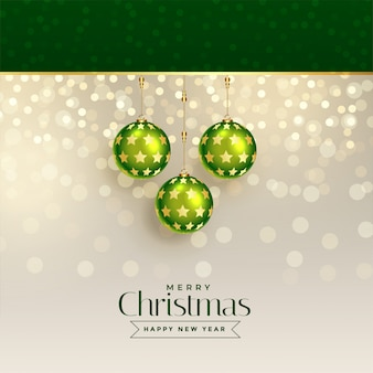 Excellent christmas greeting design with green xmas balls