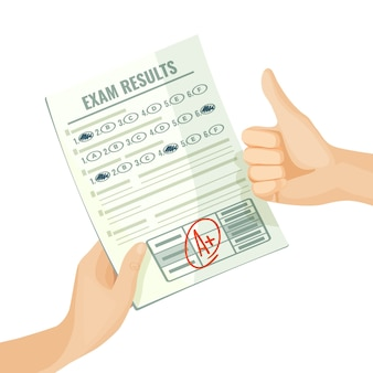 Excellent exam results on paper in human hands. best grade for knowledge estimation. assessment at school or university isolated cartoon  .