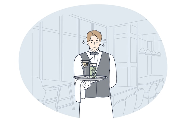 優れたサービス、ウェイターの職業、職業の概念。若い笑顔の男のウェイター漫画