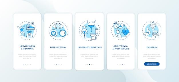 Чрезмерное потребление кофеина на экране страницы мобильного приложения с концепциями