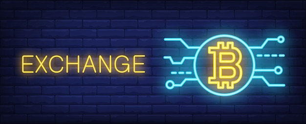 Exchange bitcoin in neon style. text, pick and bitcoin on brick wall background.