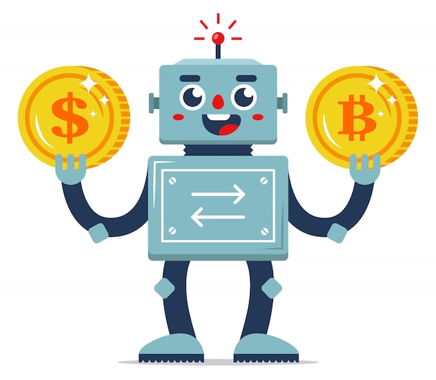 Exchange of virtual currency for real money. automation of internet services. robot exchanger. flat character vector illustration. golden coins.
