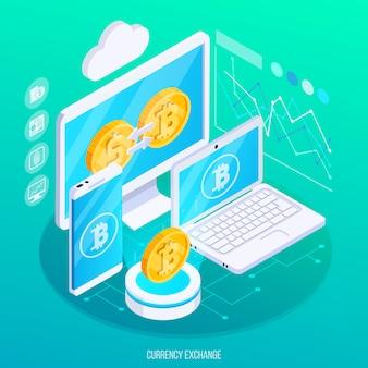 Scambio di valuta virtuale in composizione isometrica con denaro reale con dispositivi elettronici e grafici