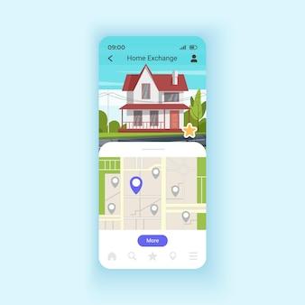휴일 스마트폰 인터페이스 벡터 템플릿을 위해 집을 교환합니다. 새로운 장소를 발견합니다. 모바일 앱 페이지 디자인 레이아웃입니다. 아파트 교환 화면입니다. 응용 프로그램에 대한 평면 ui. 전화 디스플레이
