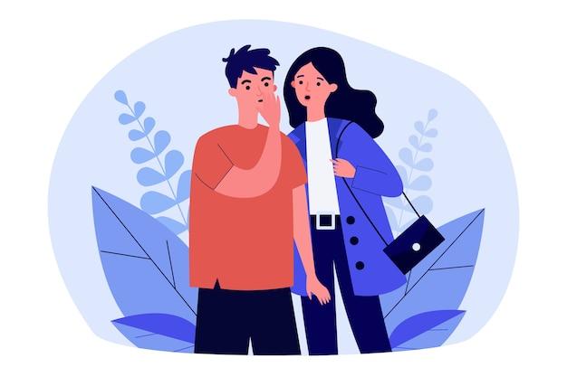 Взволнованная пара делится сплетнями