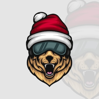 Excited dog wearing santa claus hat and ski goggles