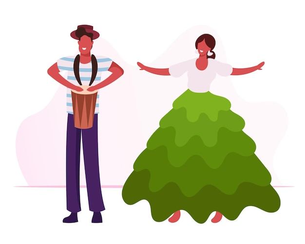 Взволнованный барабанщик играет на барабанах, красивая девушка в красочном платье, танцует самбу. мультфильм плоский иллюстрация