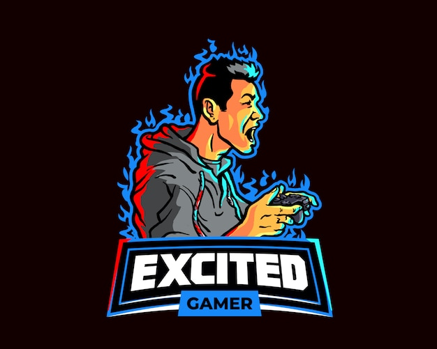 Excited gamer esport gaming team logo