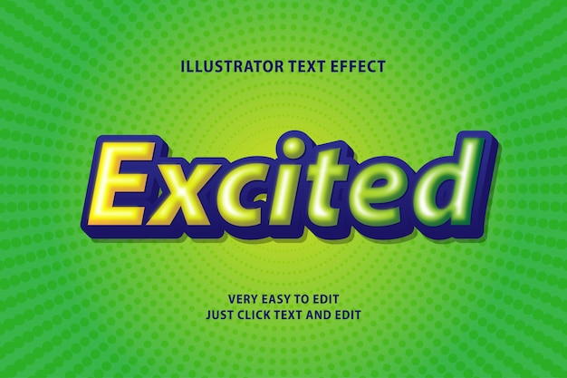 Excited green text effect, editable text