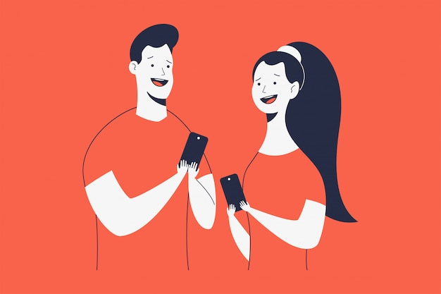 Excited and happy man and woman with phone   cartoon characters isolated  .