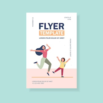 Excited mom and son having fun flyer template