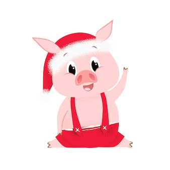 Excited pig in santa hat waving hoof