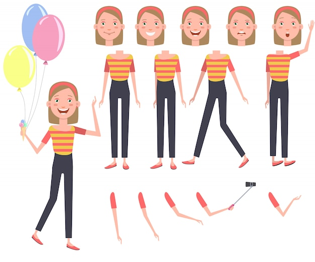 Excited pretty girl with heap of colorful balloons character set
