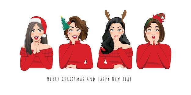 赤いセータードレス、サンタクロースの帽子、白い背景の文字にヘッドバンドで驚いて興奮した女性