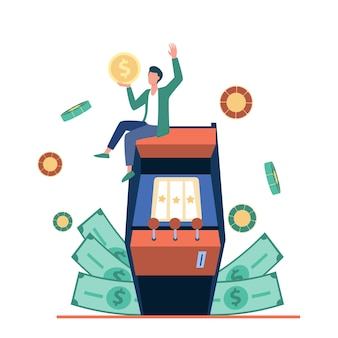 Excited tiny man enjoying victory in slot machine illustration.