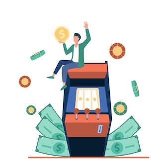 Uomo minuscolo emozionante che gode della vittoria nell'illustrazione della slot machine.