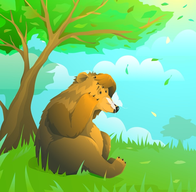 Excited wild bear in forest looking at butterfly, green woodland scenery, kids cartoon illustration drawing.