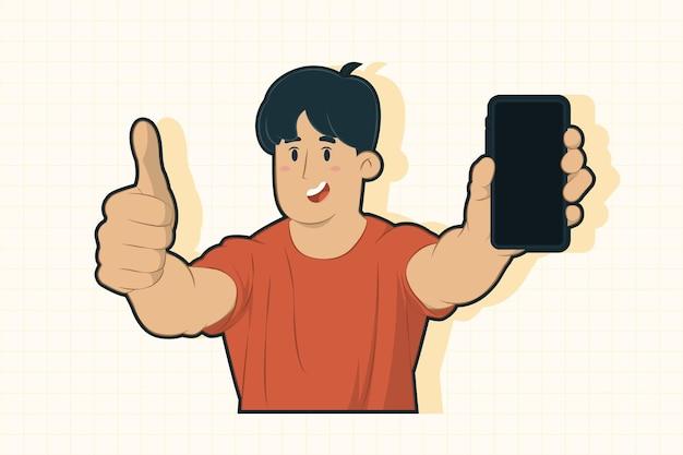 携帯電話のコンセプトのディスプレイを示す興奮した若い男