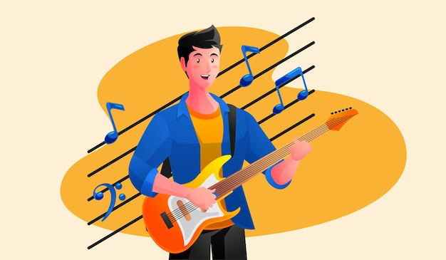 Возбужденный молодой человек с электрогитарой