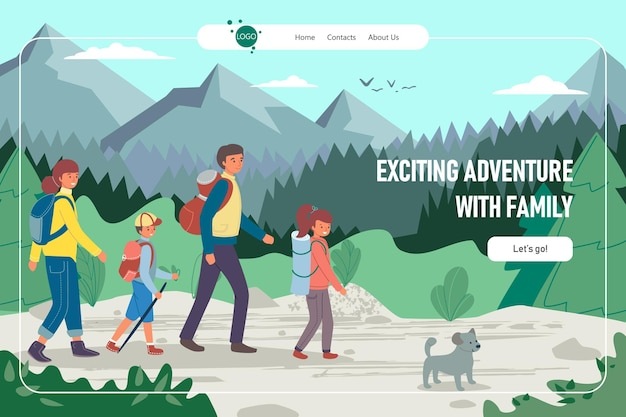 エキサイティングな冒険家族ハイキング着陸イラスト
