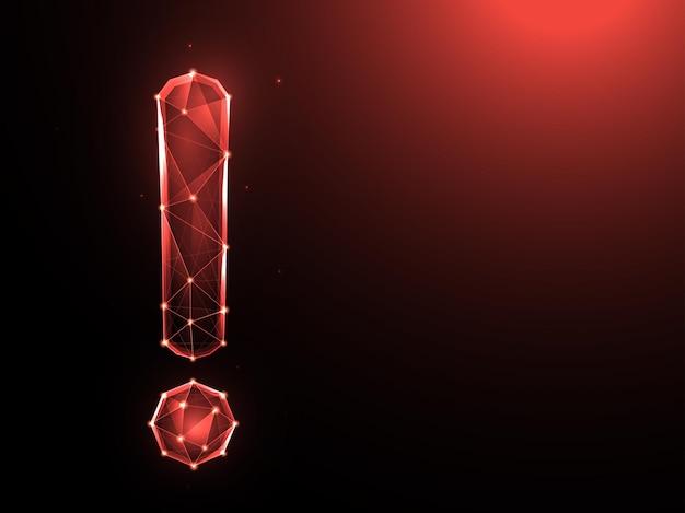 Низкополигональная конструкция восклицательного знака. внимание многоугольное