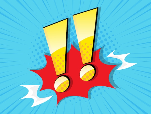 Exclamation sign with comic book, pop art