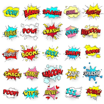 Exclamation texting comic signs on speech bubbles