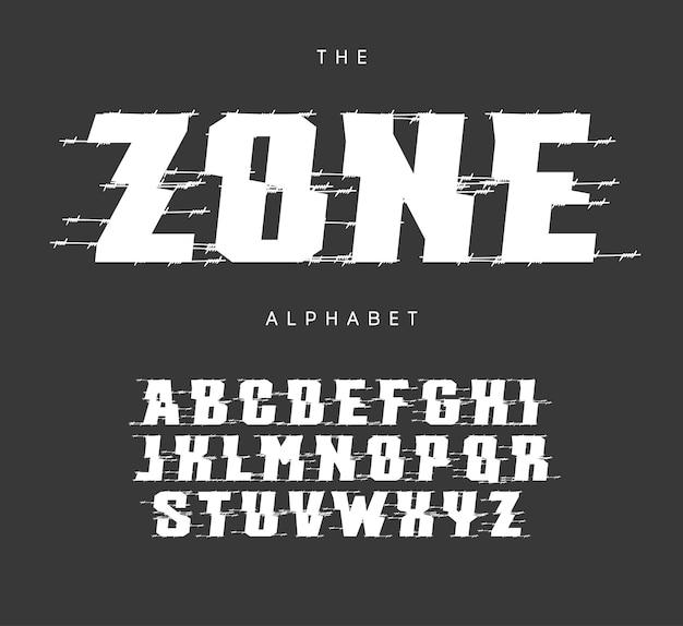 제외 영역 문자와 숫자가 설정되었습니다. 굵은 cutted 스타일 벡터 라틴 알파벳입니다. 이벤트, 프로모션, 로고, 배너, 모노그램 및 포스터용 글꼴입니다. 타이포그래피 디자인