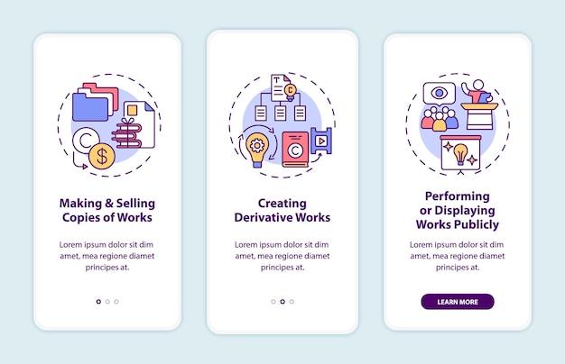 Эксклюзивные права автора на экран страницы мобильного приложения с концепциями