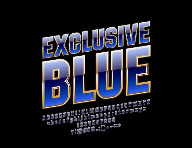 독점 파란색과 금색 알파벳 문자 숫자 및 기호 luxury modern font