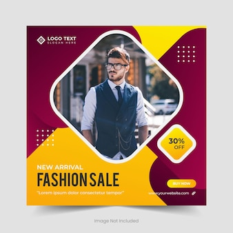 Exclusive collection fashion sale social media banner template and instagram post banner design