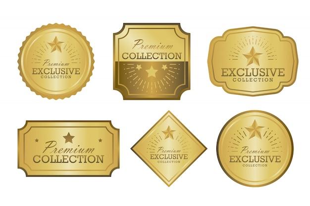 Exclusive collection sale golden badge set. gold label