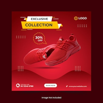 Exclusive collection shoes sale social media banner template and instagram post banner design