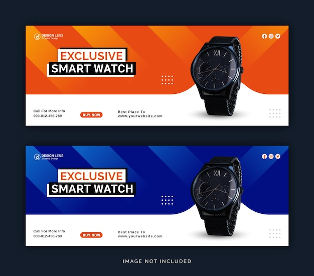 Exclusive digital smart watch collection social media facebook cover banner template