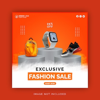 Exclusive fashion sale corporate bag watch and shoes social media post